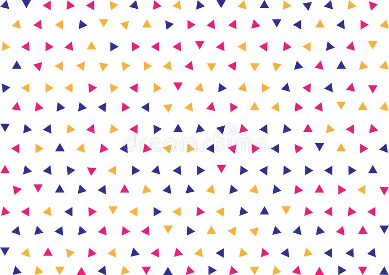 Seamless Geometric Blue, Pink and Yellow Triangles Pattern Background stock illustration