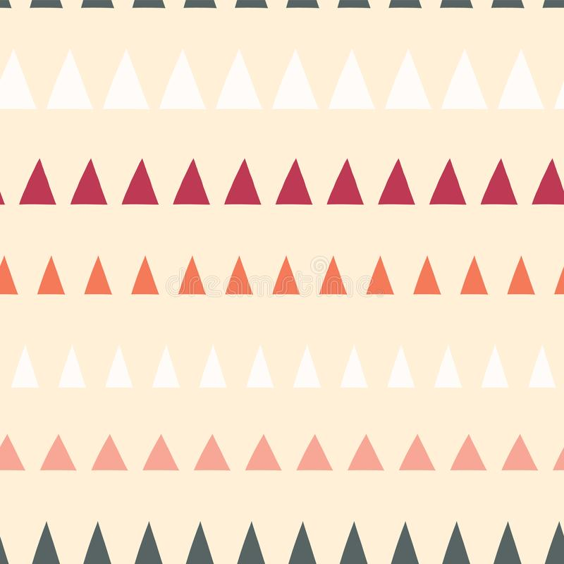 Triangles in a row seamless vector pattern. Abstract background hand drawn lined up triangles. Geometric design beige, gray, white stock illustration
