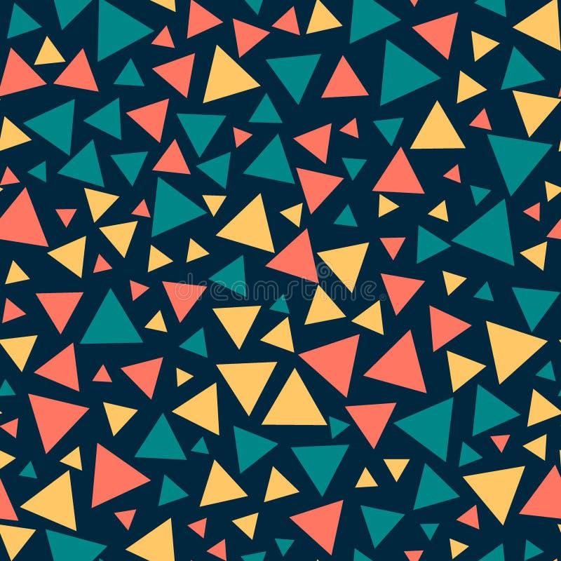 Triangles sans couture colorées, fond bleu-foncé illustration stock