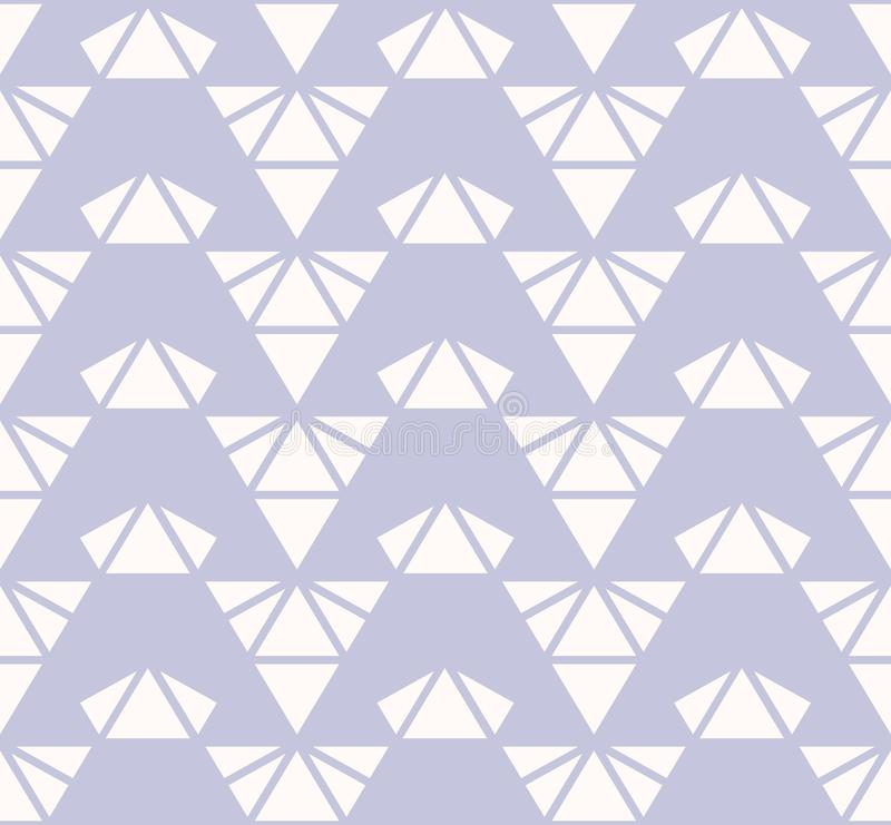 Triangles seamless pattern. Lilac and white vector abstract geometric texture stock illustration