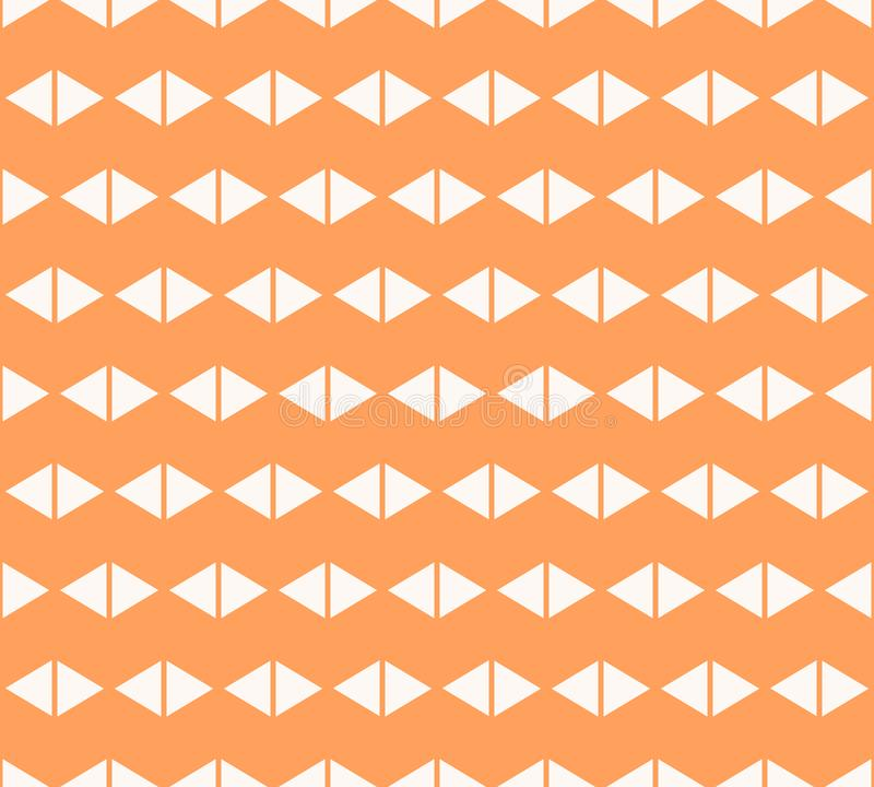 Triangles seamless pattern. Minimal orange and white vector geometric texture royalty free illustration