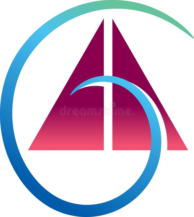 Triangles with swirl. Isolated illustrated emblem design royalty free illustration