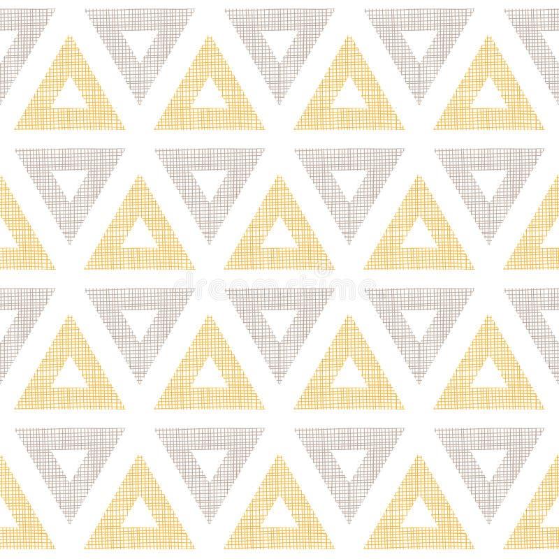 Triangoli astratti di marrone giallo del ikat del tessuto illustrazione di stock