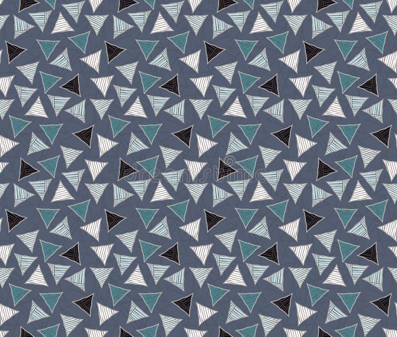 Triangoli covati approssimativi colorati sul blu illustrazione di stock