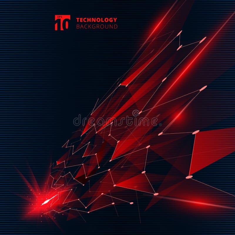 Triangoli di colore rosso di tecnologia dell'estratto con le linee di effetto della luce che collegano prospettiva della struttur illustrazione di stock