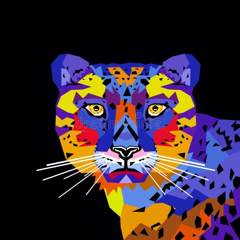 Triangoli di Pop art del ritratto della tigre di illustrtion di vettore immagini stock