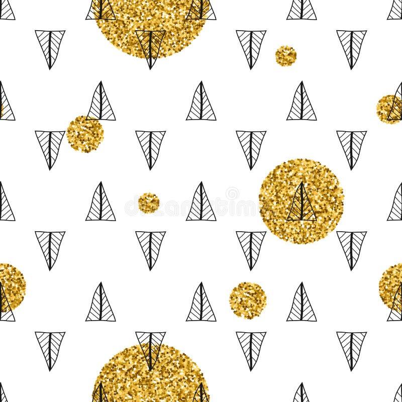 Triangoli e cerchi dorati, zecchini Reticolo senza giunte Fondo geometrico e astratto Forme di scarabocchio illustrazione di stock
