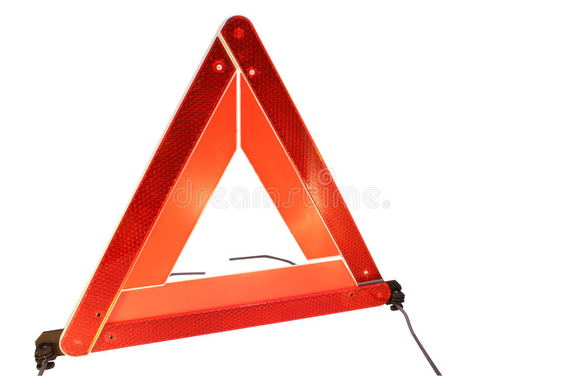 Triangolo d'avvertimento di rischio della strada fotografie stock