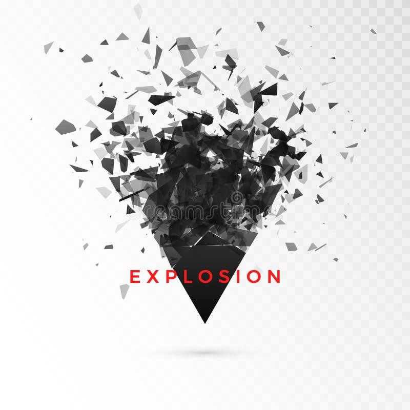 Triangolo di buio del pezzo Nuvola astratta dei pezzi dopo l'esplosione Illustrazione di vettore isolata su fondo trasparente royalty illustrazione gratis