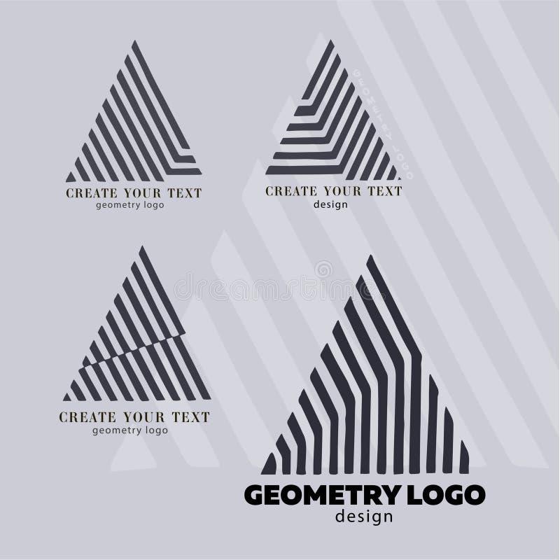 Triangolo moderno degli elementi di progettazione del monogramma Progettazione elegante di logo di Geomeric Effetto di legno Stil royalty illustrazione gratis