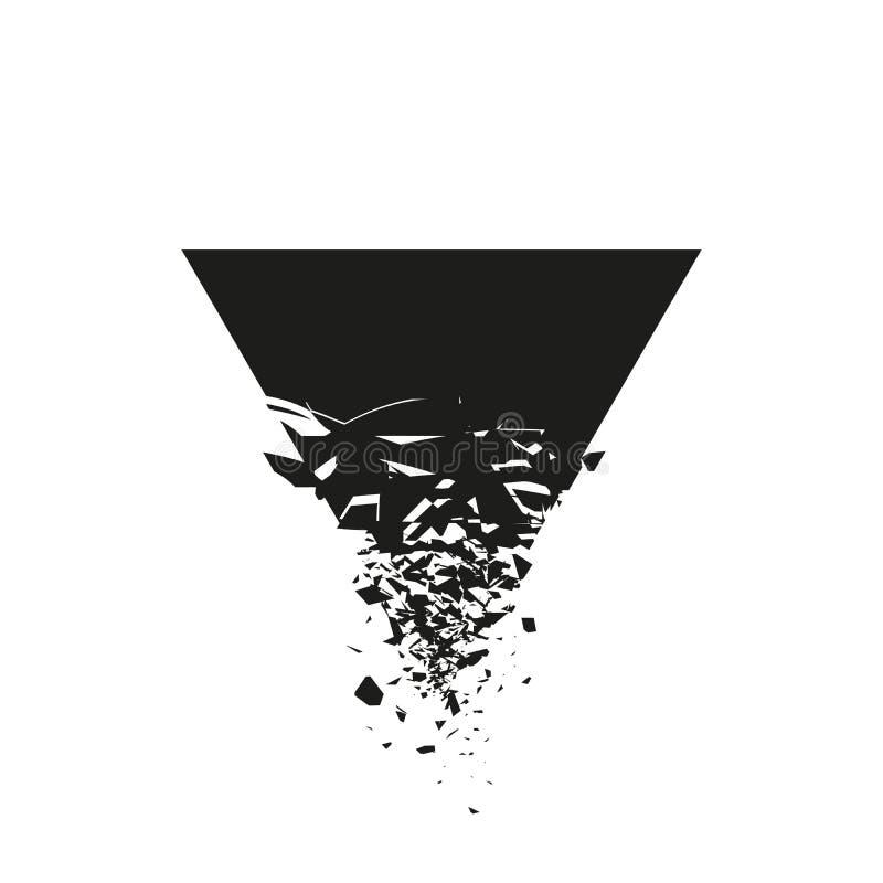 Triangolo nero con detriti su fondo bianco Esplosione nera astratta Illustrazione di vettore illustrazione vettoriale
