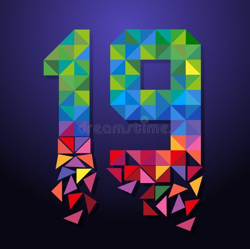 Triangolo rotto numero 19 illustrazione vettoriale