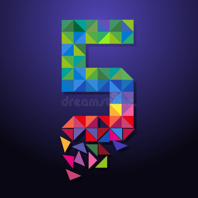 Triangolo rotto numero cinque illustrazione di stock