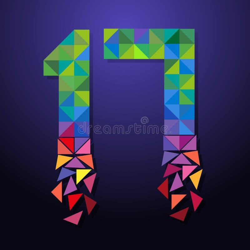 Triangolo rotto numero diciassette illustrazione vettoriale