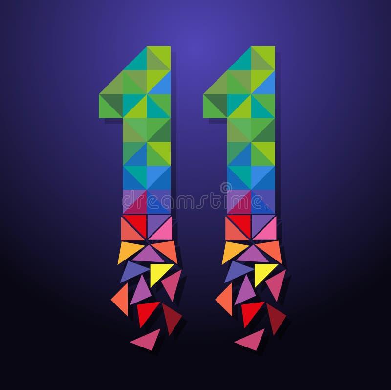Triangolo rotto numero undici illustrazione di stock
