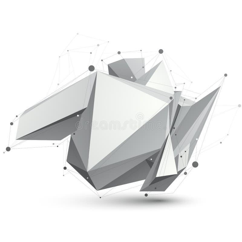 Triangulär abstrakt form för gråton 3D, digital latt eps8 för vektor stock illustrationer