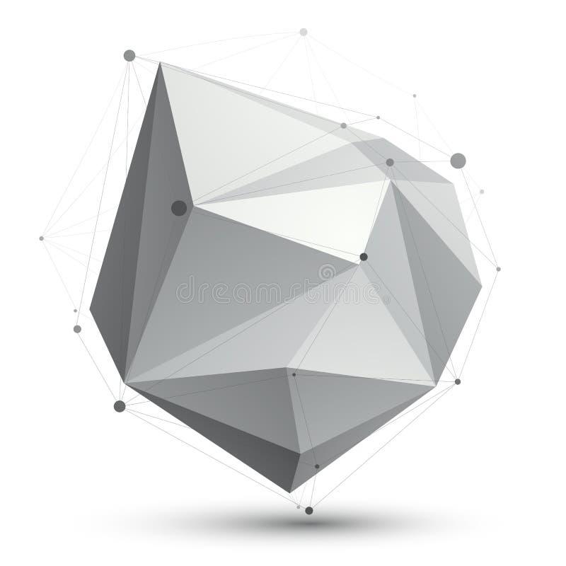 Triangulär abstrakt form för gråton 3D, digital latt eps8 för vektor royaltyfri illustrationer