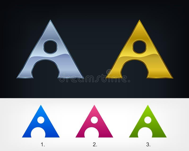 Triangulär för vektormall för bokstav A stiliserad logo för emblem för design, universell idé för affärsteknologi stock illustrationer