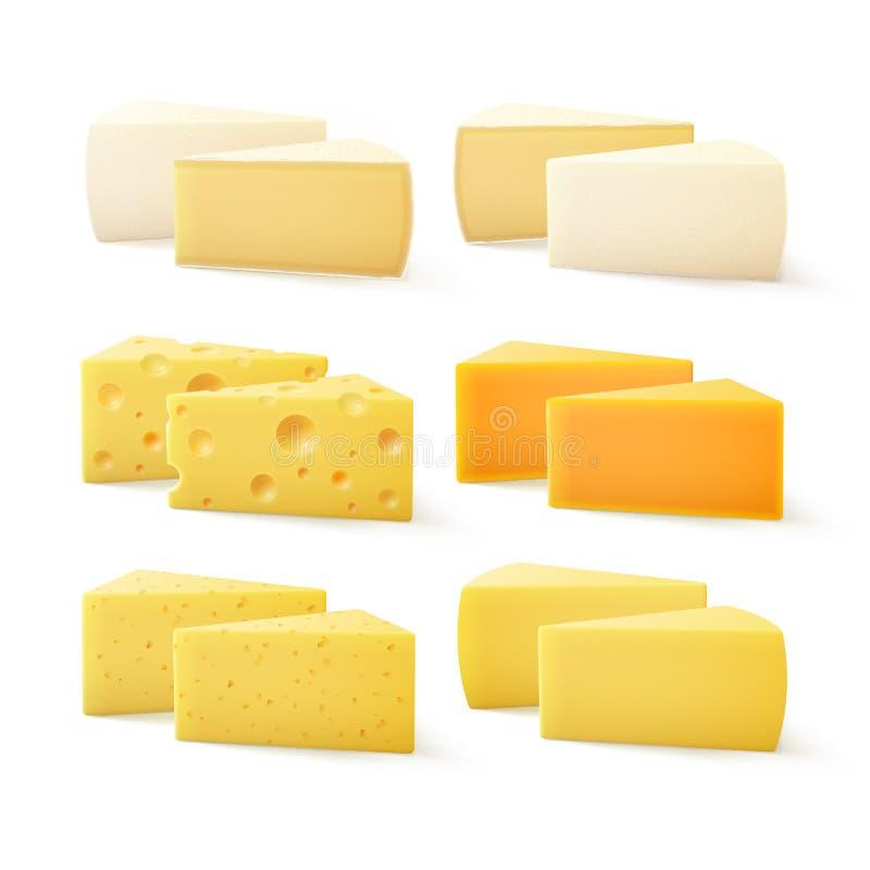 Triangulära stycken av den olika sorten av schweizisk cheddar Bri Parmesan Camembert Close för ost upp på vit bakgrund stock illustrationer
