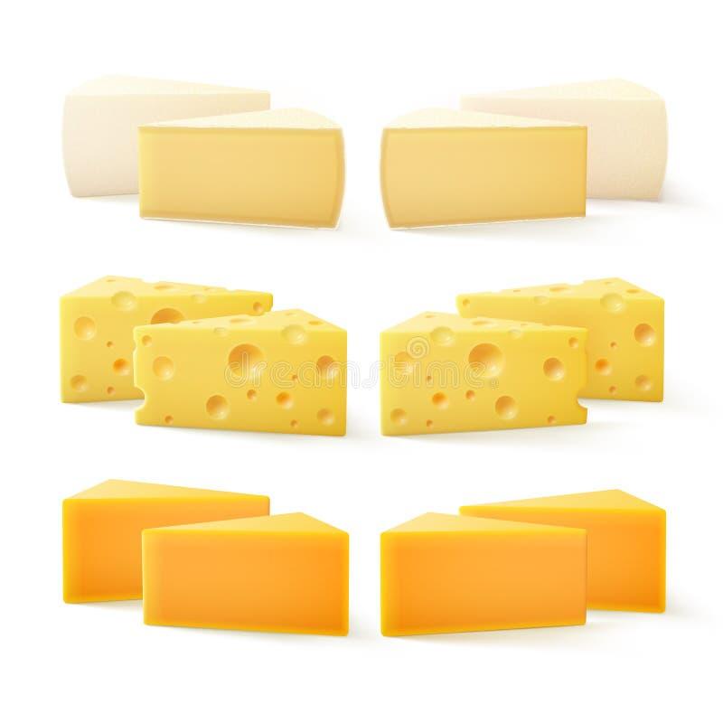 Triangulära stycken av schweizisk cheddar Bri Camembert för olik snäll ost royaltyfri illustrationer