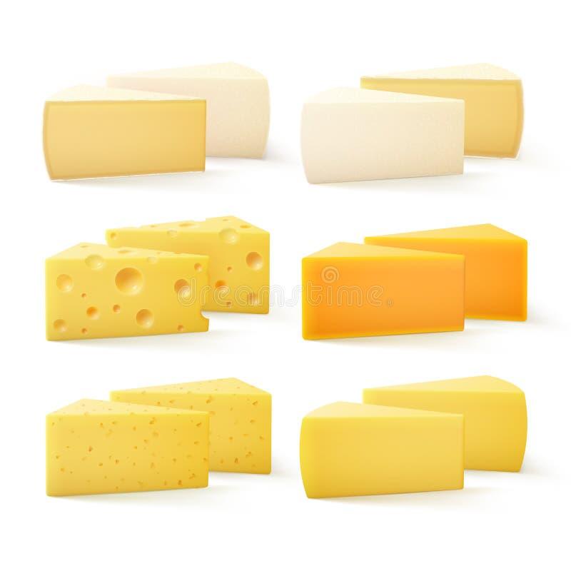 Triangulära stycken av schweizisk cheddar Bri Parmesan Camembert för snäll ost royaltyfri illustrationer