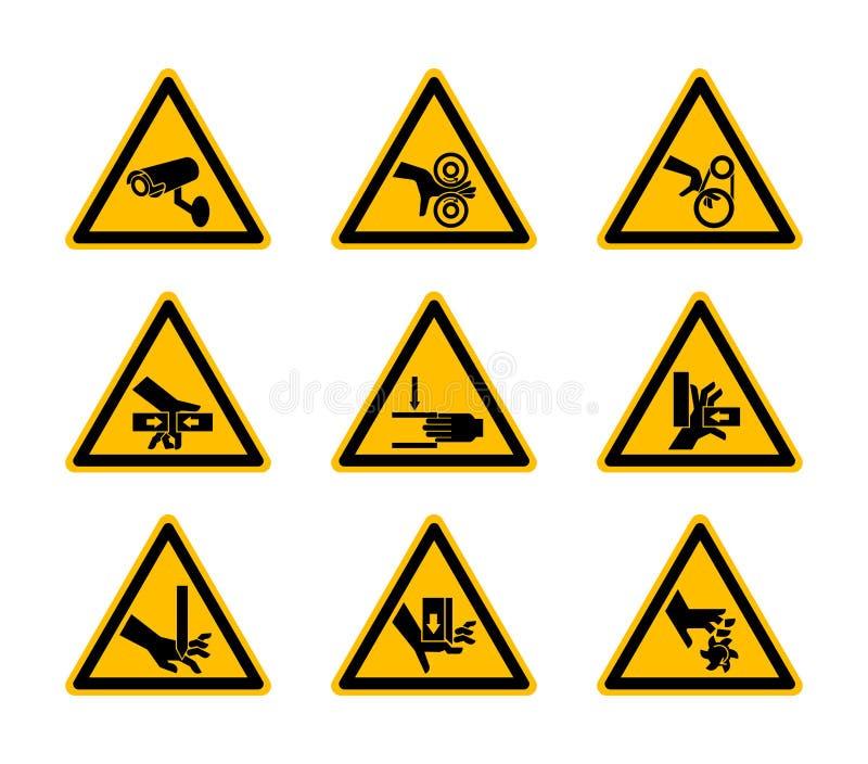 Triangulära varnande farasymboletiketter isolerar på vit bakgrund, vektorillustration stock illustrationer