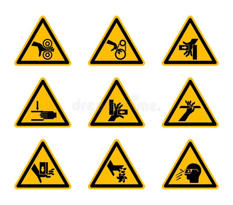 Triangulära varnande farasymboletiketter isolerar på vit bakgrund, vektorillustration royaltyfri illustrationer