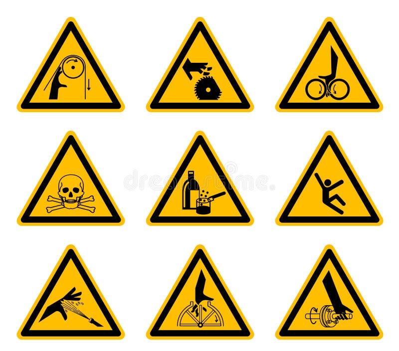 Triangulära varnande farasymboletiketter isolerar på vit bakgrund, vektorillustrationen EPS 10 stock illustrationer
