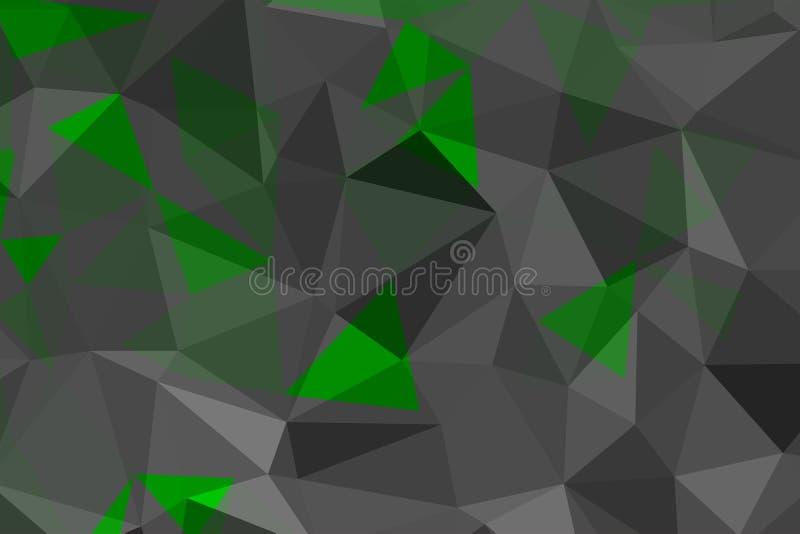 Triangulaire fripé géométrique vert et gris illustration de vecteur