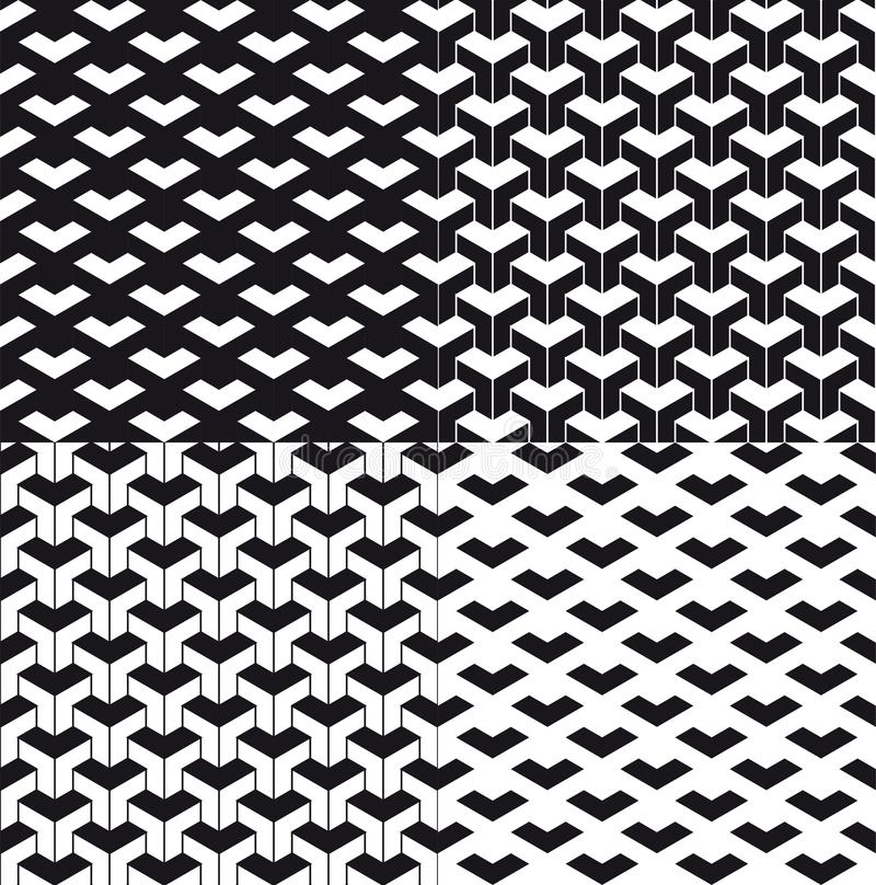 Triangular abstract background or seamless pattern set. Particle background or pattern. Black triangle particles on white stock illustration