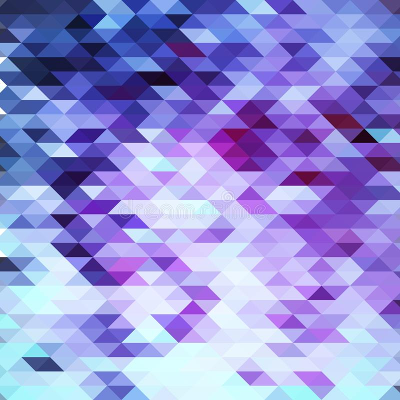 Triangular abstract poligonal mosaic background in violet colors stock illustration