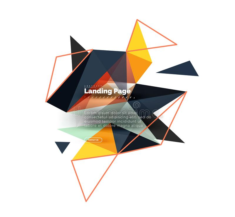 Triangular design abstract background, landing page. Low poly style colorful triangles on white royalty free illustration