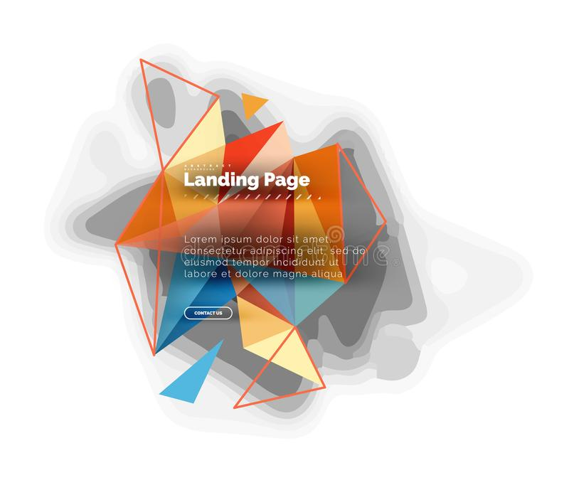 Triangular design abstract background, landing page. Low poly style colorful triangles on white. Vector illustration vector illustration