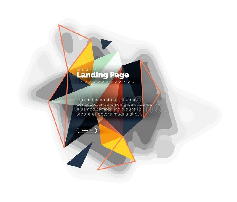 Triangular design abstract background, landing page. Low poly style colorful triangles on white. Vector illustration royalty free illustration