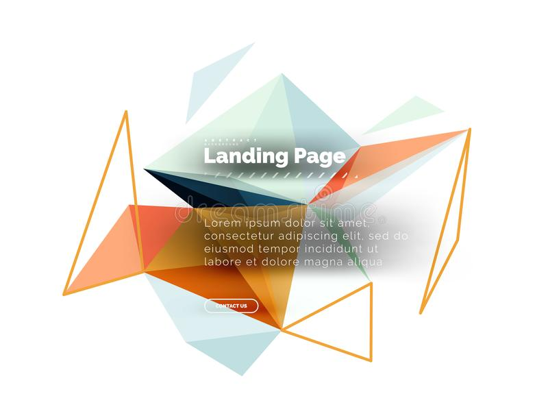 Triangular design abstract background, landing page. Low poly style colorful triangles on white. Vector illustration stock illustration