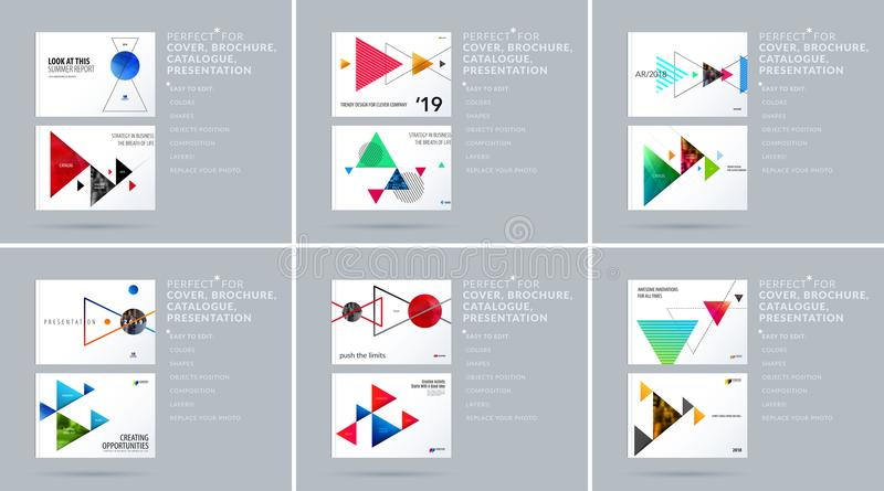 Download Triangular Design Presentation Template With Colourful Triangles Shadows. Abstract Vector Set Of Modern Horizontal Stock Vector - Illustration of element, commercial: 116257999