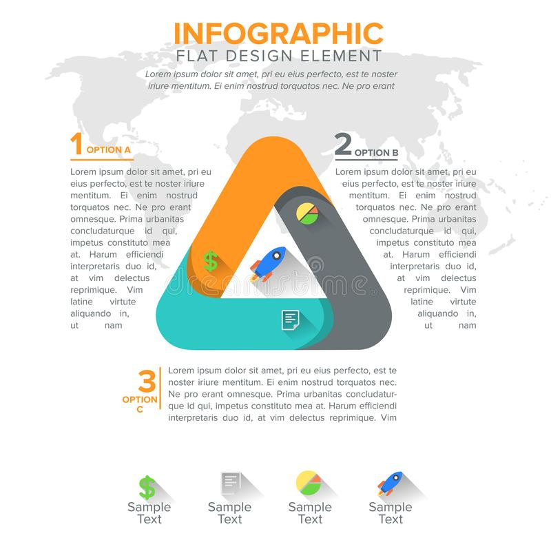 Triangular diagram chart. Triangle with 3 steps parts. Triangle design element stock illustration