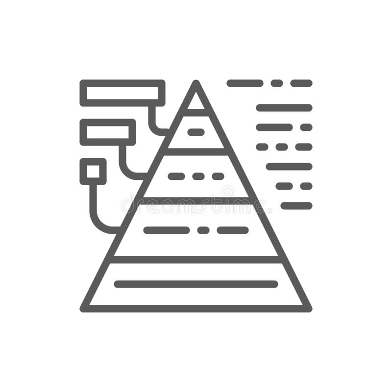 Triangular diagram with explanations line icon. royalty free illustration