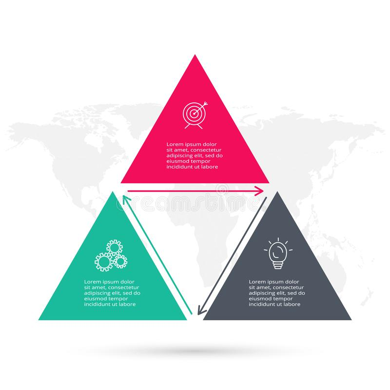 Triangular elements of graph, diagram with 3 steps, options, parts or processes. Infographic template for presentation stock illustration