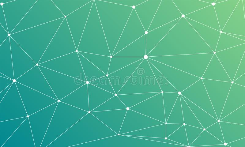 Triangular grid on an abstract green blue background royalty free illustration