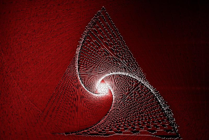 Triangular logo with eye color center red background. Abstract colorful background of 3d pixels. Topography from cubic forms vector illustration
