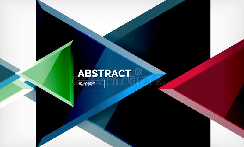Triangular low poly background design, multicolored triangles stock illustration