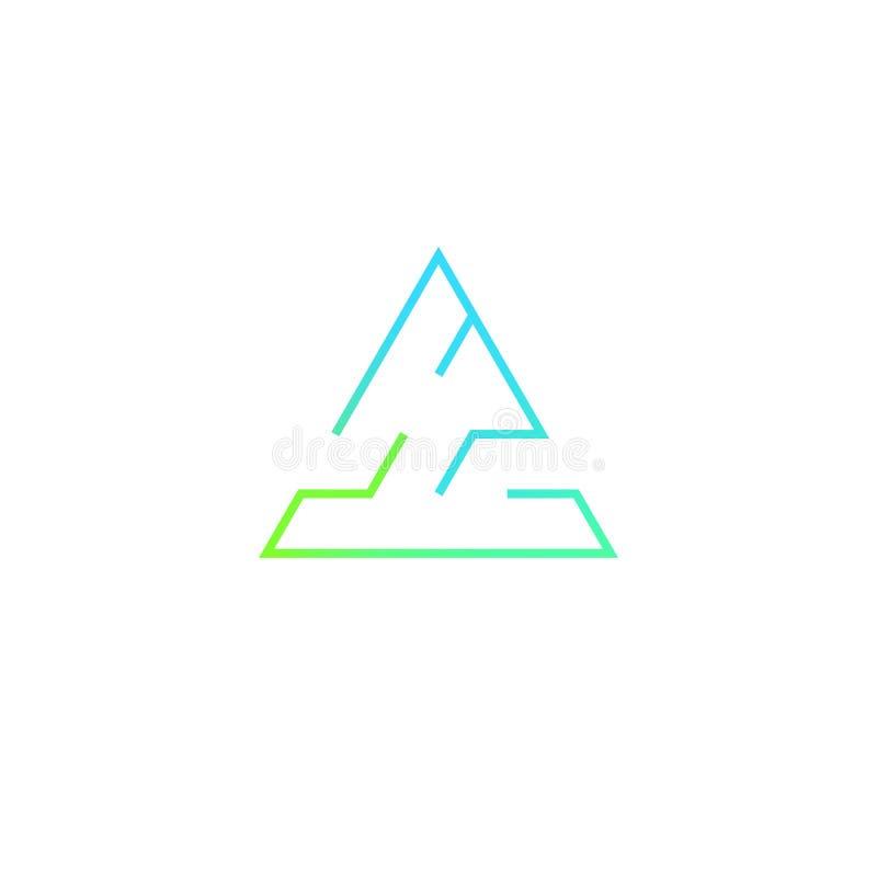 Triangular maze logo design vector illustration