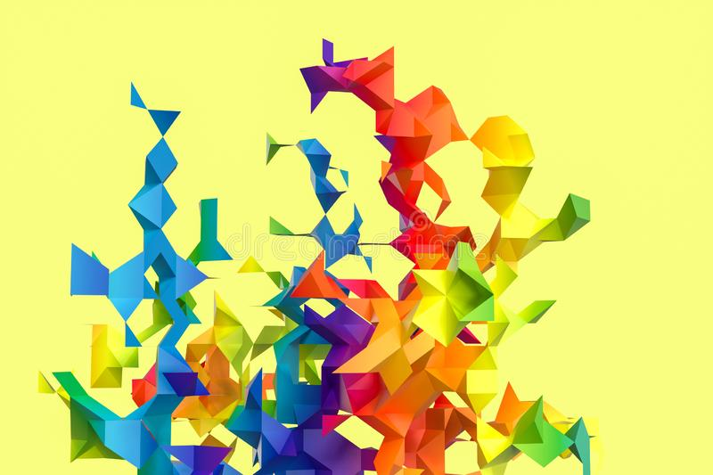 Triangular paper with creative shapes, 3d rendering vector illustration