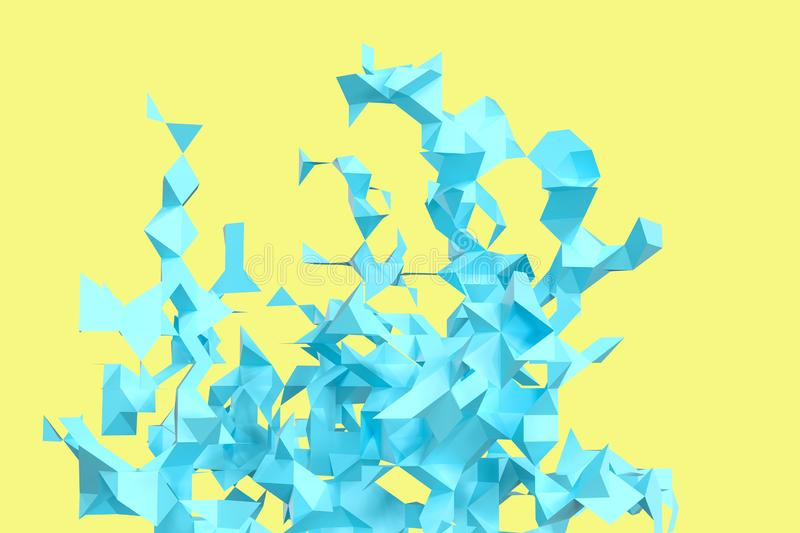 Triangular paper with creative shapes, 3d rendering royalty free illustration