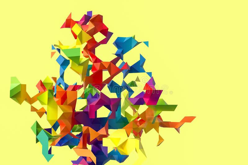 Triangular paper with creative shapes, 3d rendering stock illustration