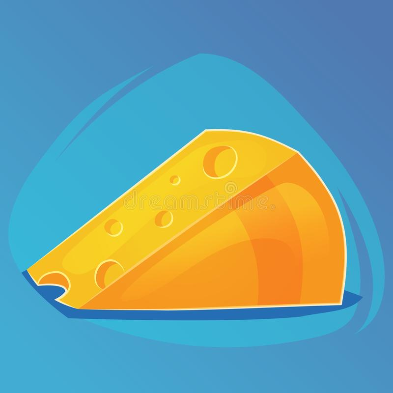 Triangular piece of cheese, cheese game icon, cartoon food or web site design, mobile app Vector illustration stock illustration