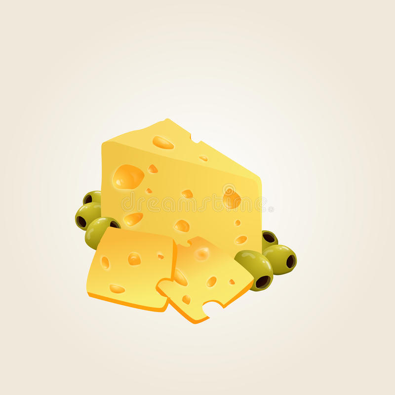 Triangular piece of cheese, cheese realistic food stock photo
