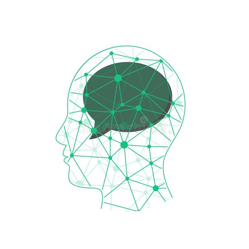 Triangular polygonal geometric head presentation with speech bubble. vector illustration