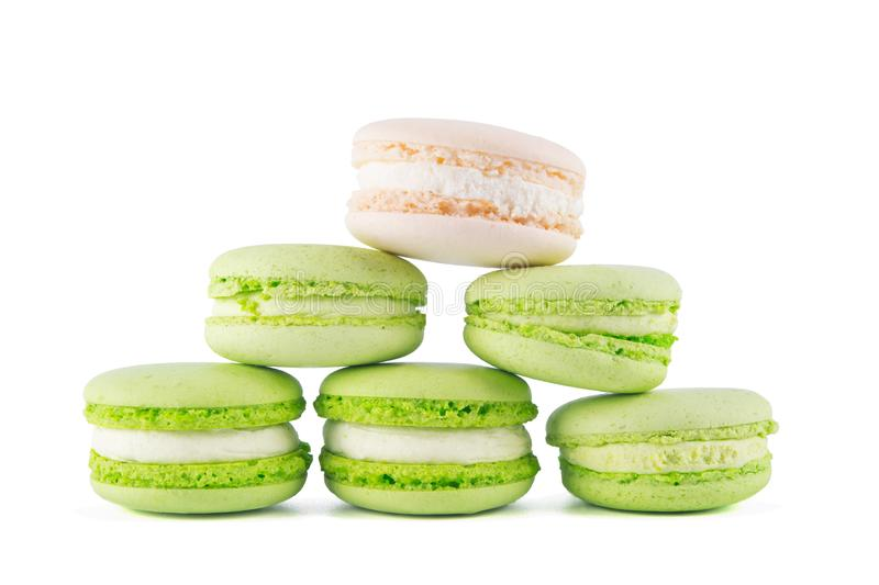 triangular pyramid of dessert macaron, on a light background stock images